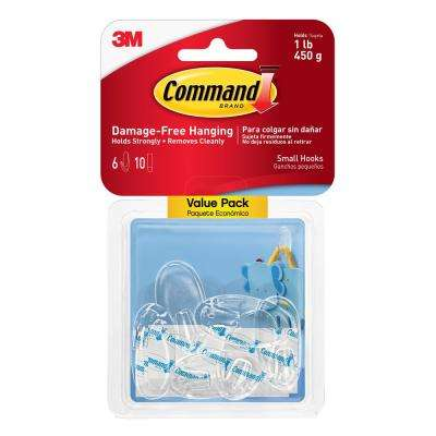 Small Clear Hook (6-Hooks and 10-Strips per Pack)