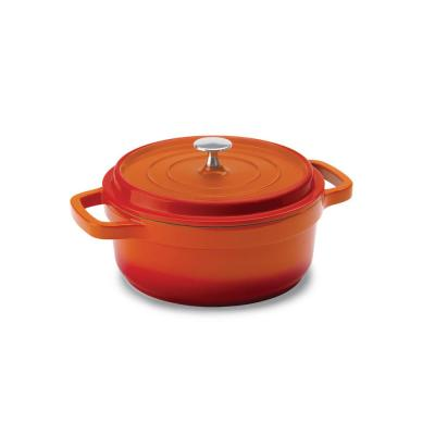 3 qt. Round Cast Aluminum Nonstick Dutch Oven in Orange with Lid