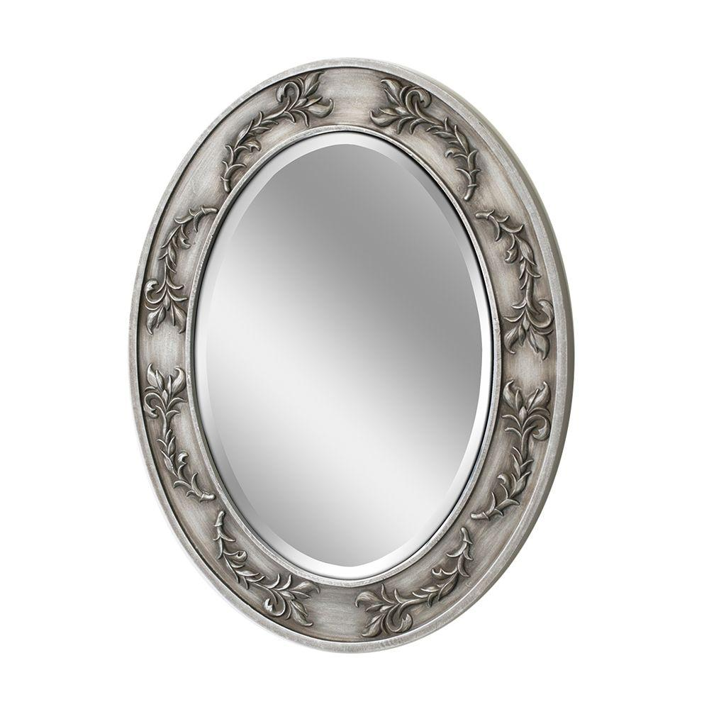 Deco Mirror 29 in. x 23 in. Classic Scroll Oval Mirror in Antique Nickel