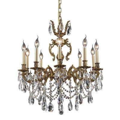 10-Light French Gold Chandelier with Clear Crystal