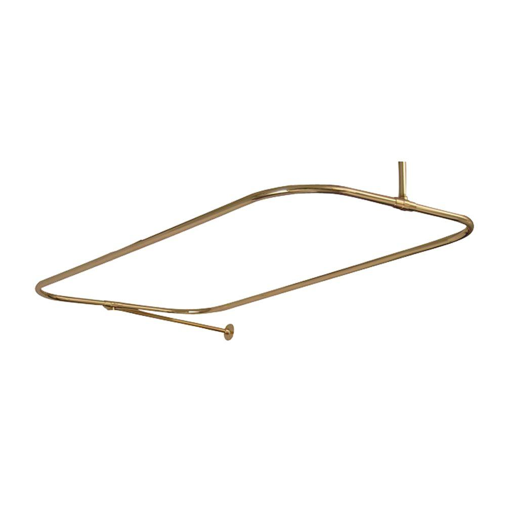 54 in. x 24 in. Rectangular Shower Rod in Polished Brass