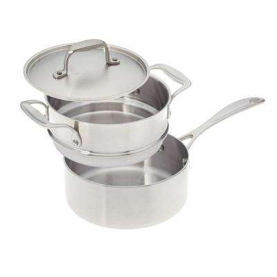 2 Qt. Premium Stainless Steel Saucepan with Double Boiler Insert and Cover