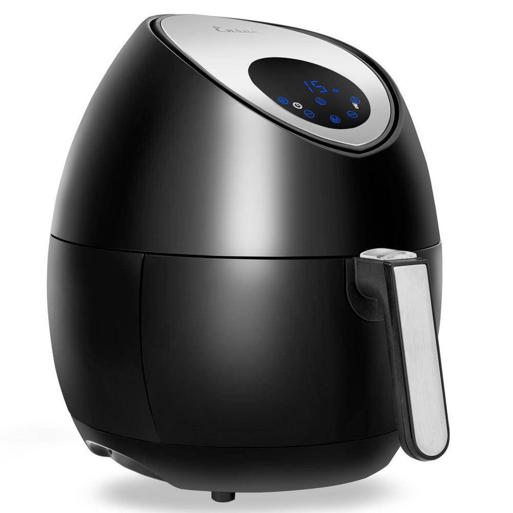 Oil-Free 3.7 Qt. Air Fryer, Black This Air Fryer provides variable temperature and time. There are 7-cooking setting. In addition, this product also together with a recipe book. Color: Black.