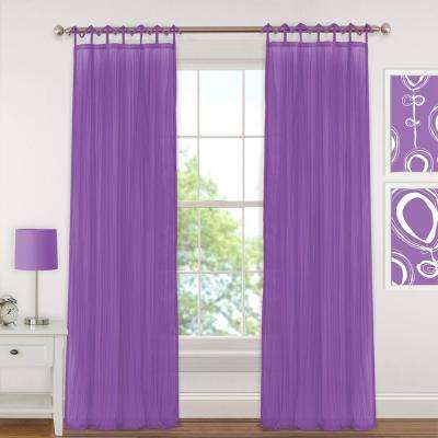 Sheer Greta 84 in. L Crushed Sheer Tie Loop Curtain in Purple