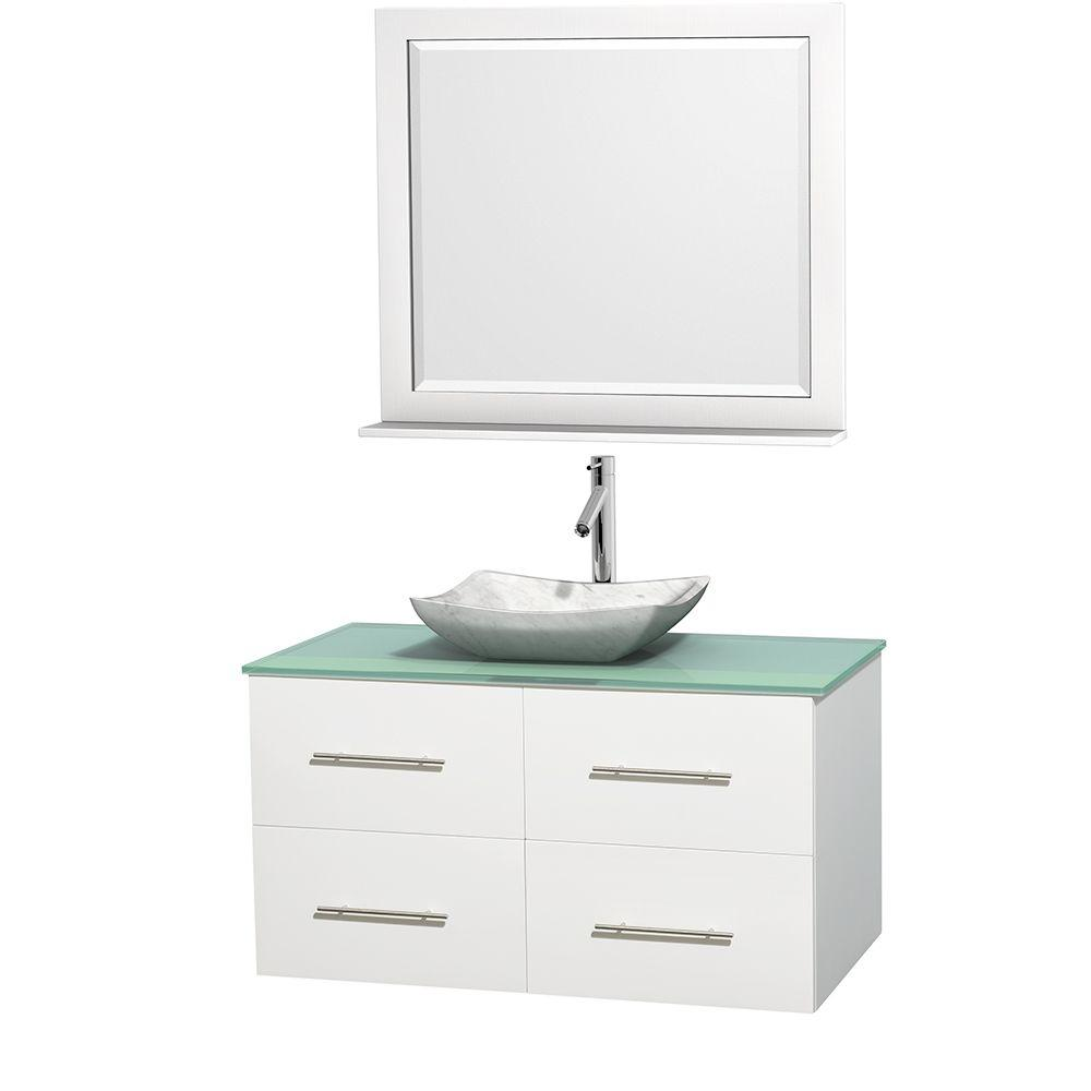 Wyndham Collection Centra 42 in. Vanity in White with Glass Vanity Top in Green, Carrara White Marble Sink and 36 in. Mirror