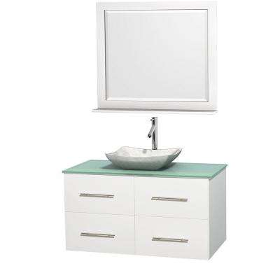 Centra 42 in. Vanity in White with Glass Vanity Top in Green, Carrara White Marble Sink and 36 in. Mirror