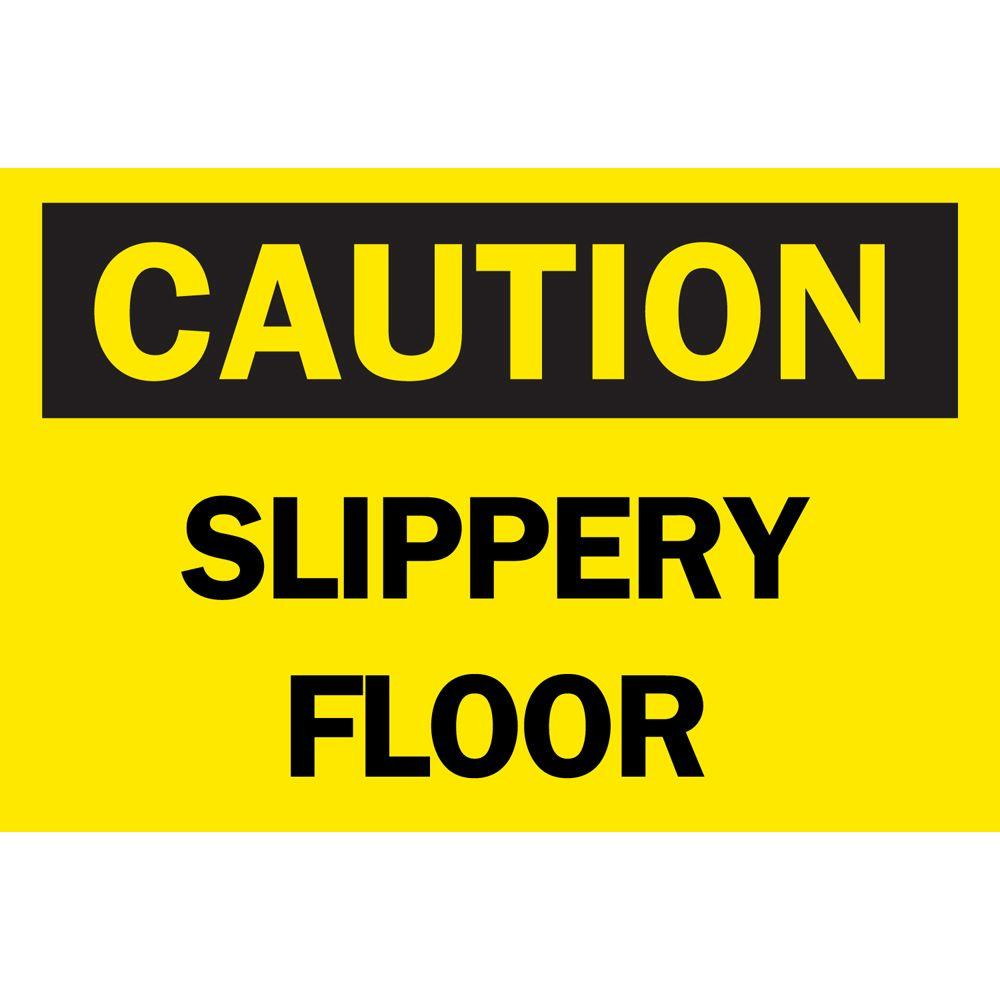 10 in. x 14 in. Plastic Caution Slippery Floor OSHA Safety