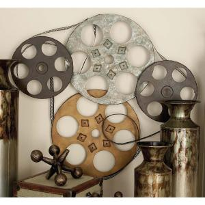 25 inch x 22 inch Industrial Inspired Metallic Iron Movie Reel Montage Wall Decor by