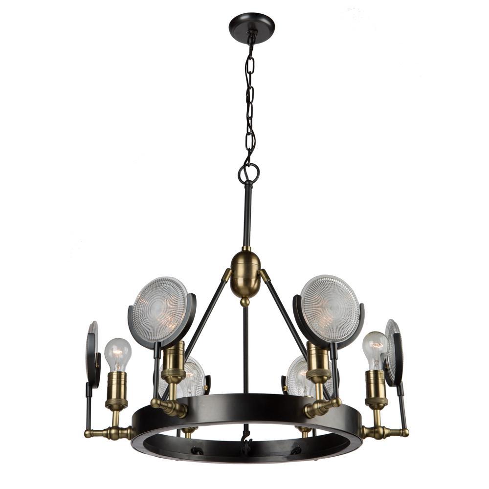 6-Light Slate and Vintage Brass Chandelier