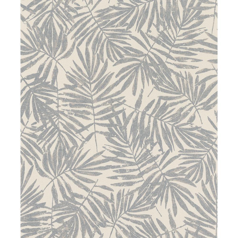 8 in. x 10 in. La Veneziana Pewter Leaf Wallpaper Sample