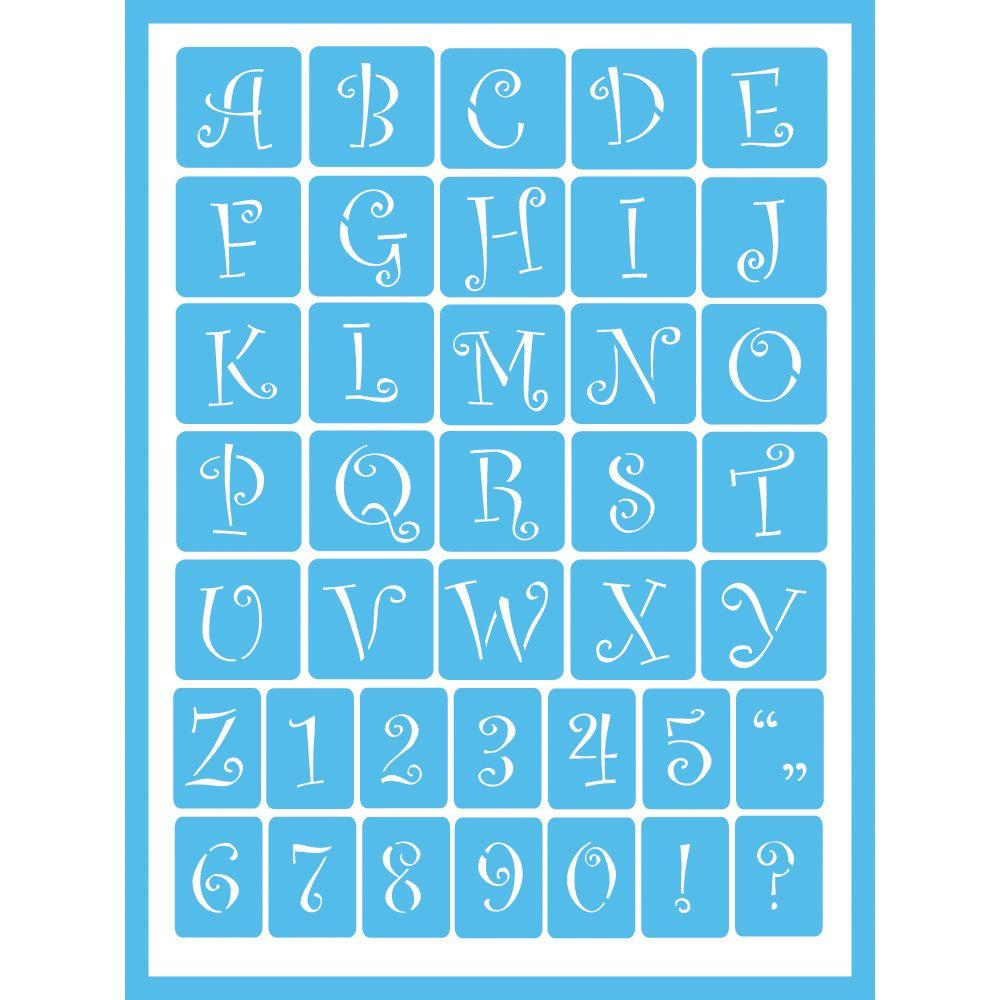 Americana Curly Alphabet Self Adhesive Stencil AGS203 A   The Home