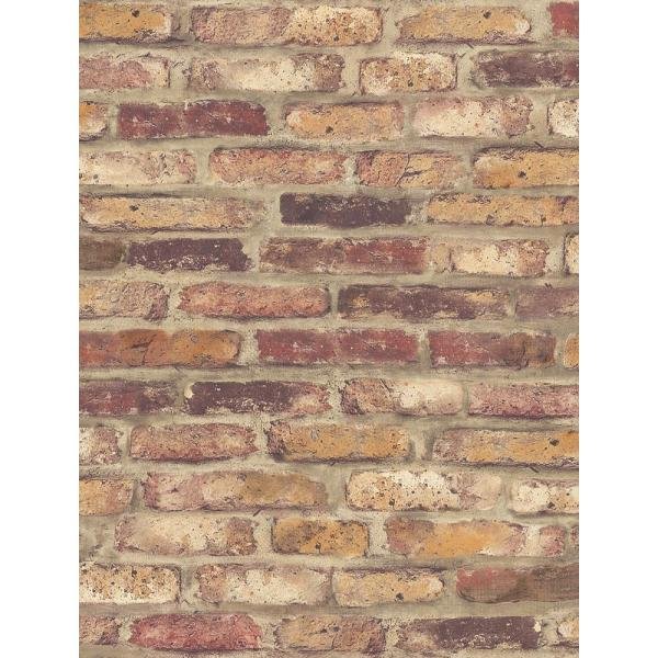 Red Faux Brick Red Vinyl Peelable Wallpaper (Covers 30.75 sq. ft.)