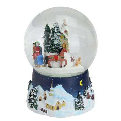 6.5 in. Christmas Musical and Animated Villiage Winter Scene Rotating Water Globe Dome