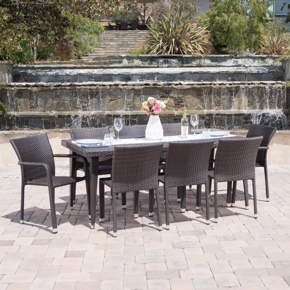 Multi-Brown 9-Piece Wicker Rectangular Outdoor Dining Set