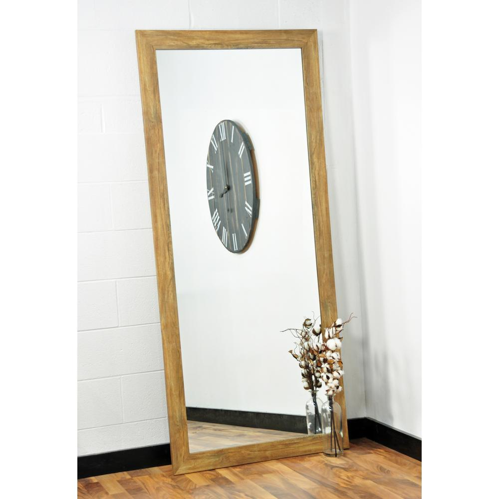 blonde barnwood full length floor wall mirror bm034ts the home depot. Black Bedroom Furniture Sets. Home Design Ideas