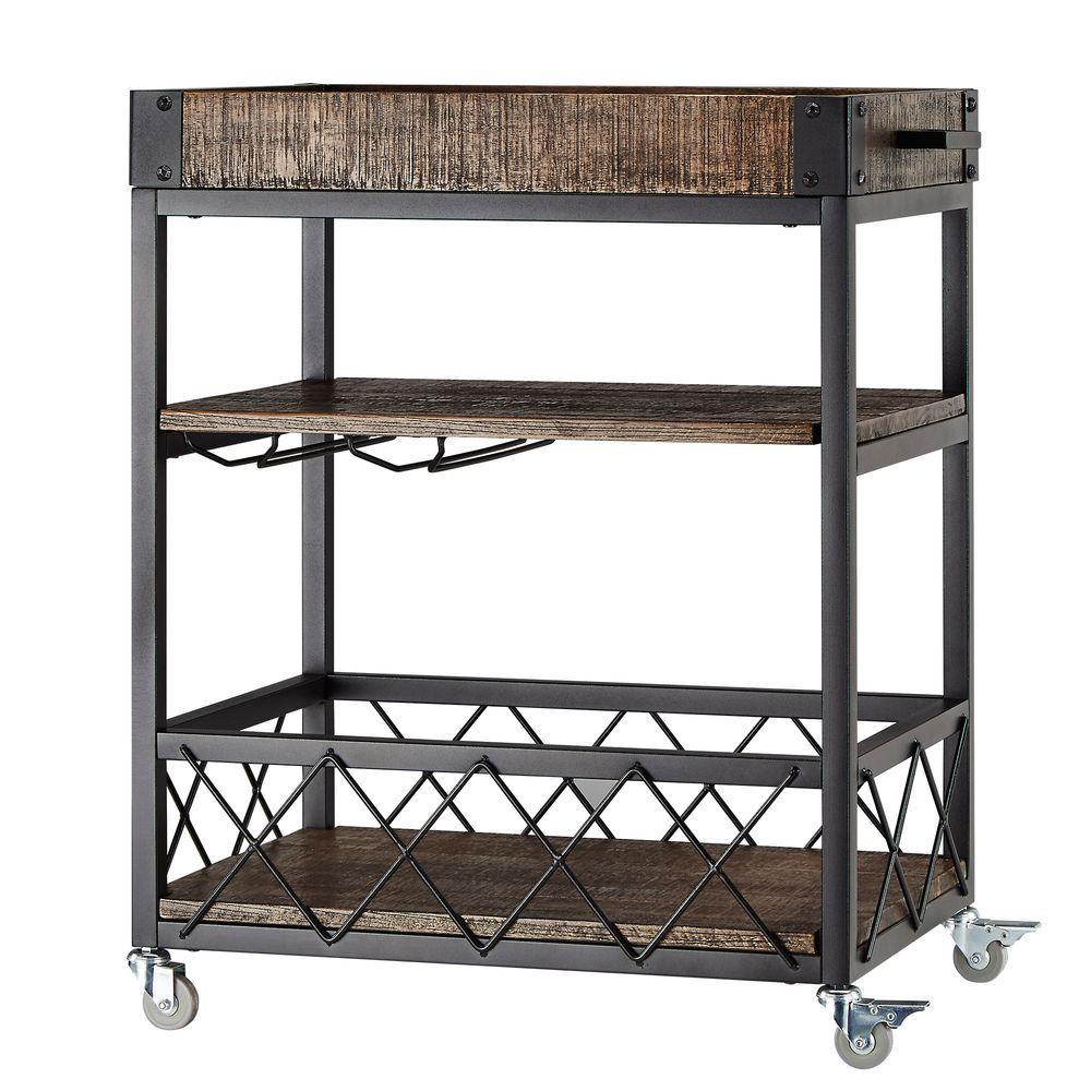 Homesullivan Grove Place Distressed Cocoa Bar Cart With Wine Gl