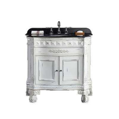York 36 in. W x 20 in. D Vanity in Antique White with Granite Vanity Top in Black with White Basin