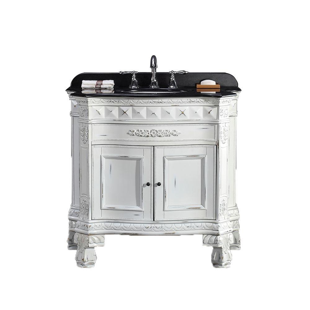 D Vanity in Antique White - OVE Decors York 36 In. W X 20 In. D Vanity In Antique White With