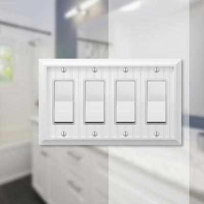 Cottage 4 Gang Rocker Composite Wall Plate - White