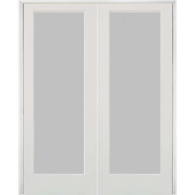48 in. x 80 in. Craftsman Shaker 1-Lite Satin Etch Both Active MDF Solid Hybrid Core Double Prehung Interior Door
