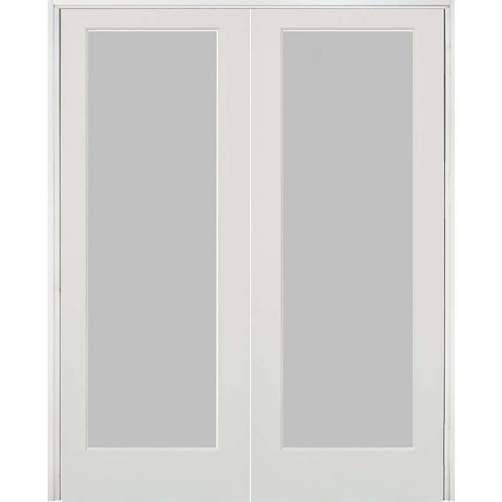 48 in. x 80 in. Craftsman Shaker 1-Lite Satin Etch Both Active MDF Solid Hybrid Core Double Prehung Interior Door