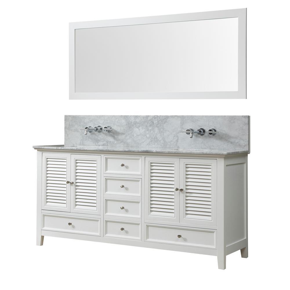 Shutter Premium 72 in. W Bath Makeup Hybrid Vanity in White with White Marble Vanity Top with White Basins and Mirror