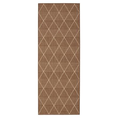 Jardin Collection Brown Contemporary Trellis Design Indoor/Outdoor 1 ft. 8 in. x 4 ft. 11 in. Jute Back Runner Rug