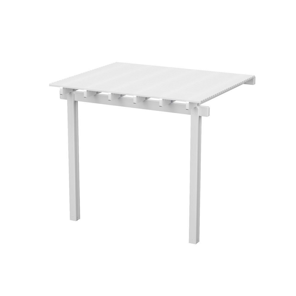 12 ft. x 8 ft. White Aluminum Attached Open Lattice Pergola