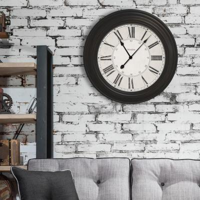 24 in. Classic Black Oversized Wall Clock