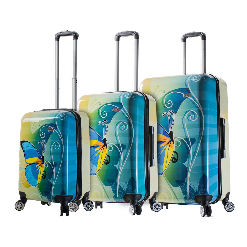 Designer Art 3-Piece Butterfly Hardside Spinner Luggage Set