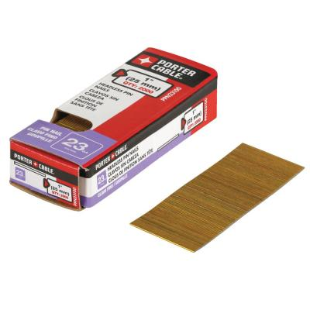 1 in. x 23-Gauge Glue Collated Bright Pin Nails (2000 per Box)