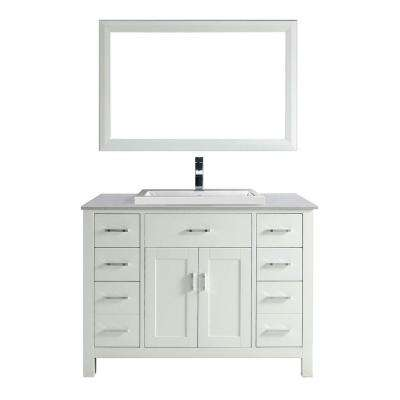 Kelly 48 in. Vanity in White with Solid Surface Marble Vanity Top in Carrara White and Mirror