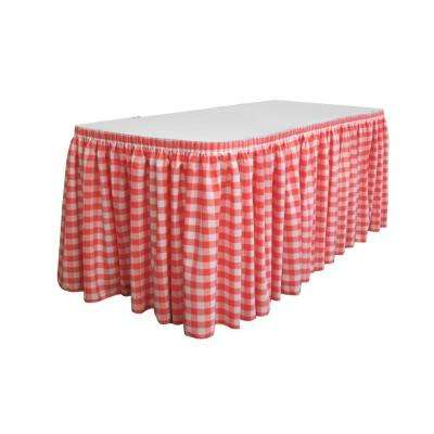 17 ft. x 29 in. Long White and Coral Polyester Gingham Checkered Table Skirt with 10 L-Clips