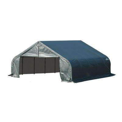 18 ft. x 24 ft. x 11 ft. Green Steel and Polyethylene Garage Without Floor