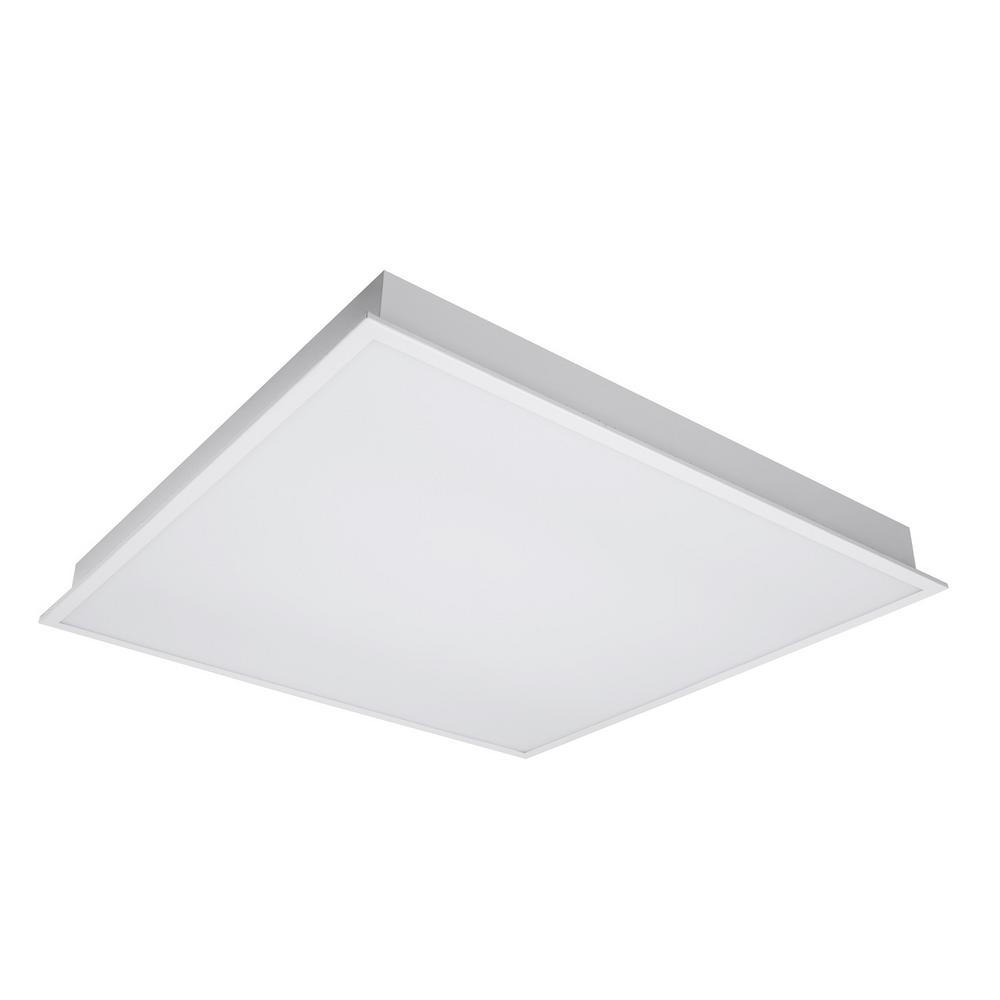 2x4 Led Light Fixture Home Depot: Halco Lighting Technologies 32-Watt White Flat Panel