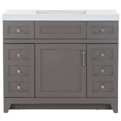 Rosedale 42 in. W x 19 in. D Bath Vanity in Taupe Gray with Cultured Marble Vanity Top in White with White Sink