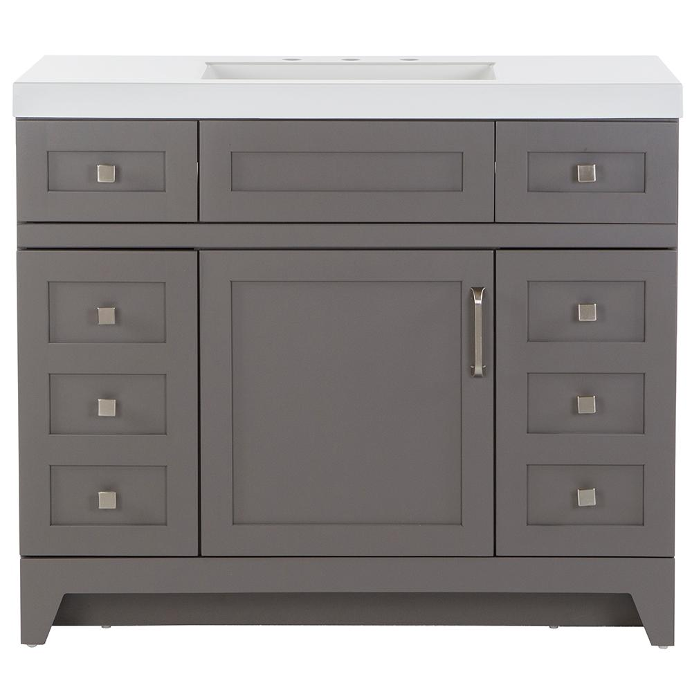 Remarkable St Paul Rosedale 42 50 In W X 18 75 In D Bath Vanity In Taupe Gray With Cultured Marble Vanity Top In White With White Sink Download Free Architecture Designs Pushbritishbridgeorg