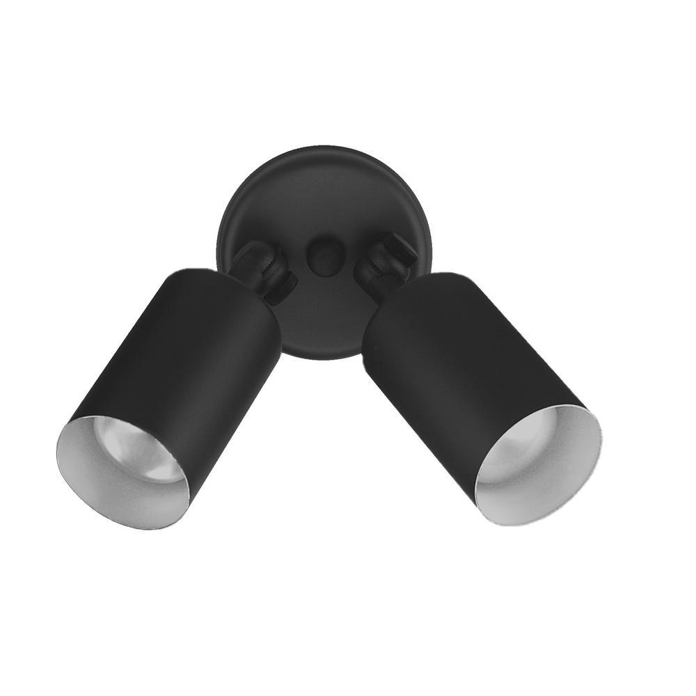Double Bullet 50-Watt 2-Light Black Outdoor Wall Mount Cylinder Light