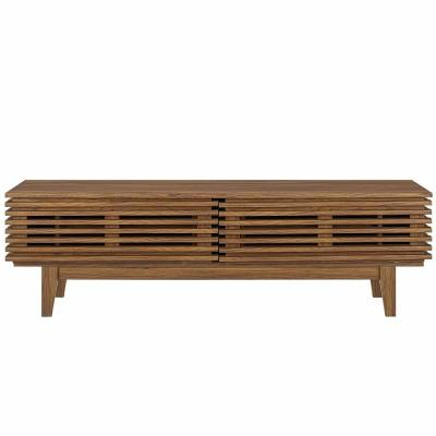 Render 60 in. Walnut Wood TV Console Fits TVs Up to 66 in. with Adjustable Shelves