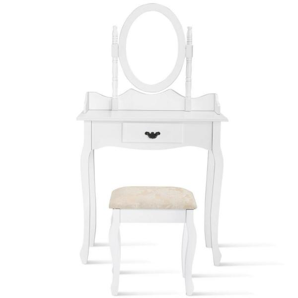 2-Piece White Wood Makeup Dressing Table Vanity Stool Set Jewelry Desk with Drawer and Mirror