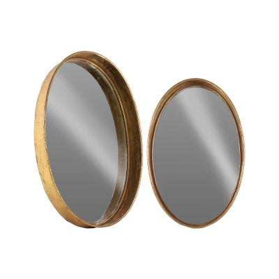 Oval Rose Gold Antique Tarnished Wall Mirror (Set of 2)