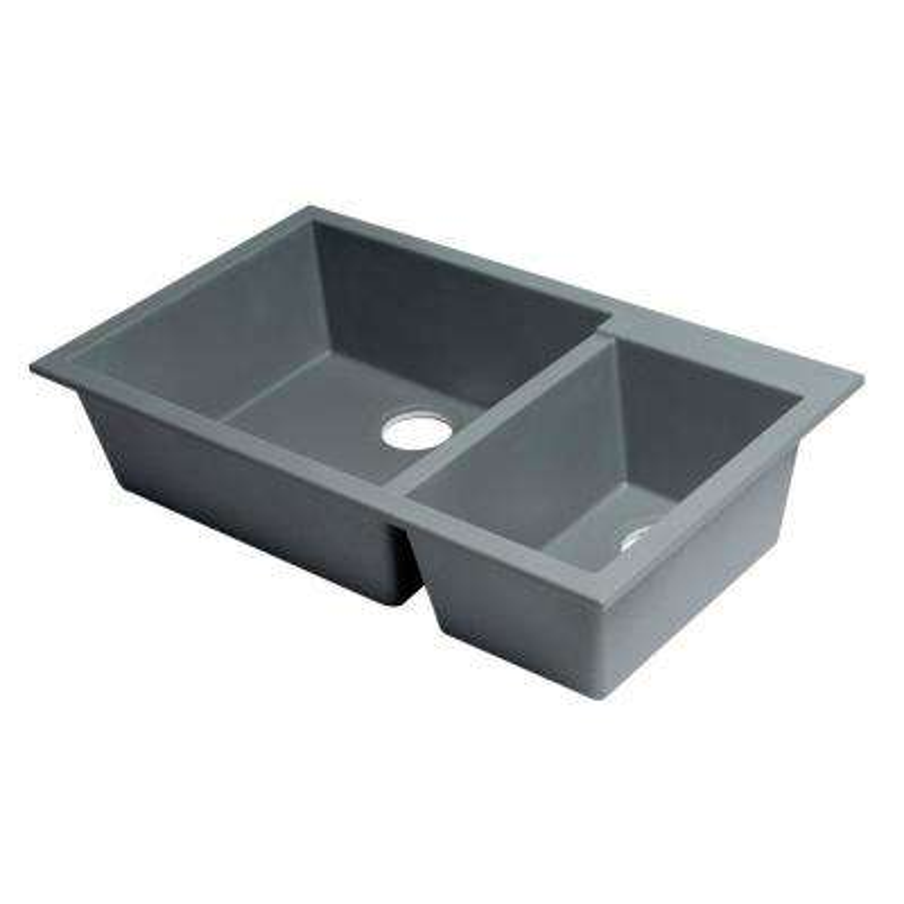 Undermount Granite Composite 33.88 in. 35/65 Double Bowl Kitchen Sink in Titanium