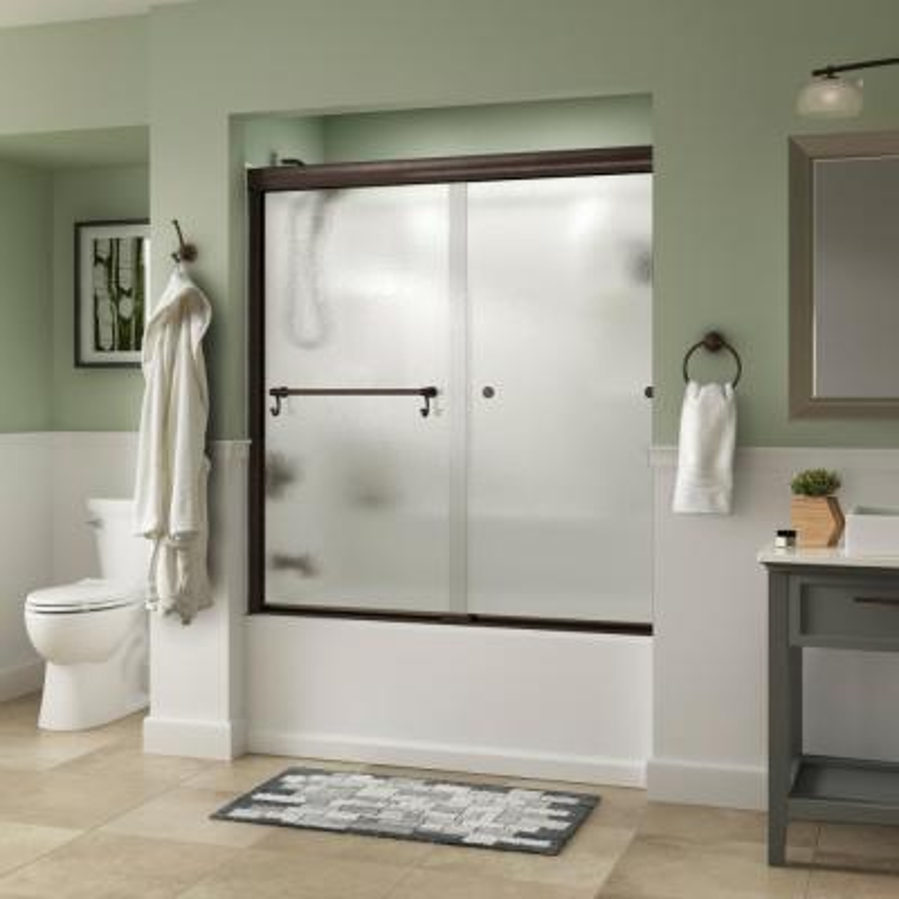Portman 60 in. x 58-1/8 in. Semi-Frameless Traditional Sliding Bathtub Door in Bronze with Rain Glass