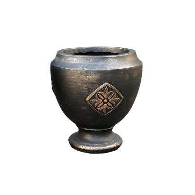 12.99 in. x 12.99 in. x 13.98 in. Bronzewash Color Lightweight Concrete Medallion Footed Planter
