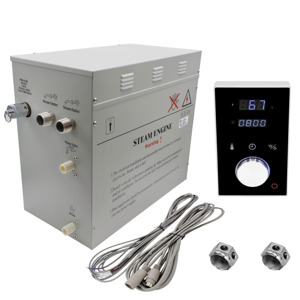 Steam Planet Superior 12kW Deluxe Self-Draining Steam Bath Generator Digital Programmable Control in Black and Chrome Steam Outlet