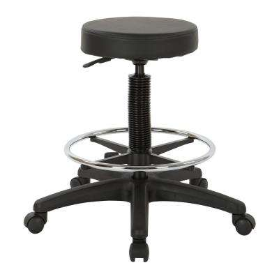 Pneumatic Black Drafting Chairwith Nylon Base and Adjustable Foot Ring