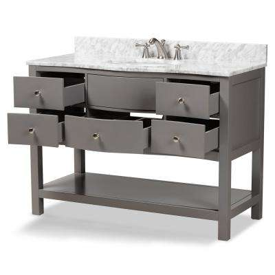 Castie 48 in. W x 34.7 in. H Bath Vanity in Gray with Vanity Top in White with High Gloss White Basin
