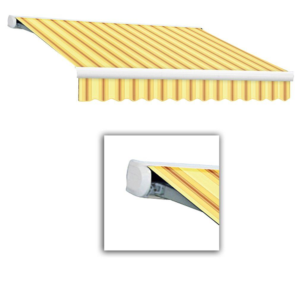 AWNTECH 10 ft. Key West Full-Cassette Left Motor Retractable Awning with Remote (96 in. Projection) in Yellow/Terra