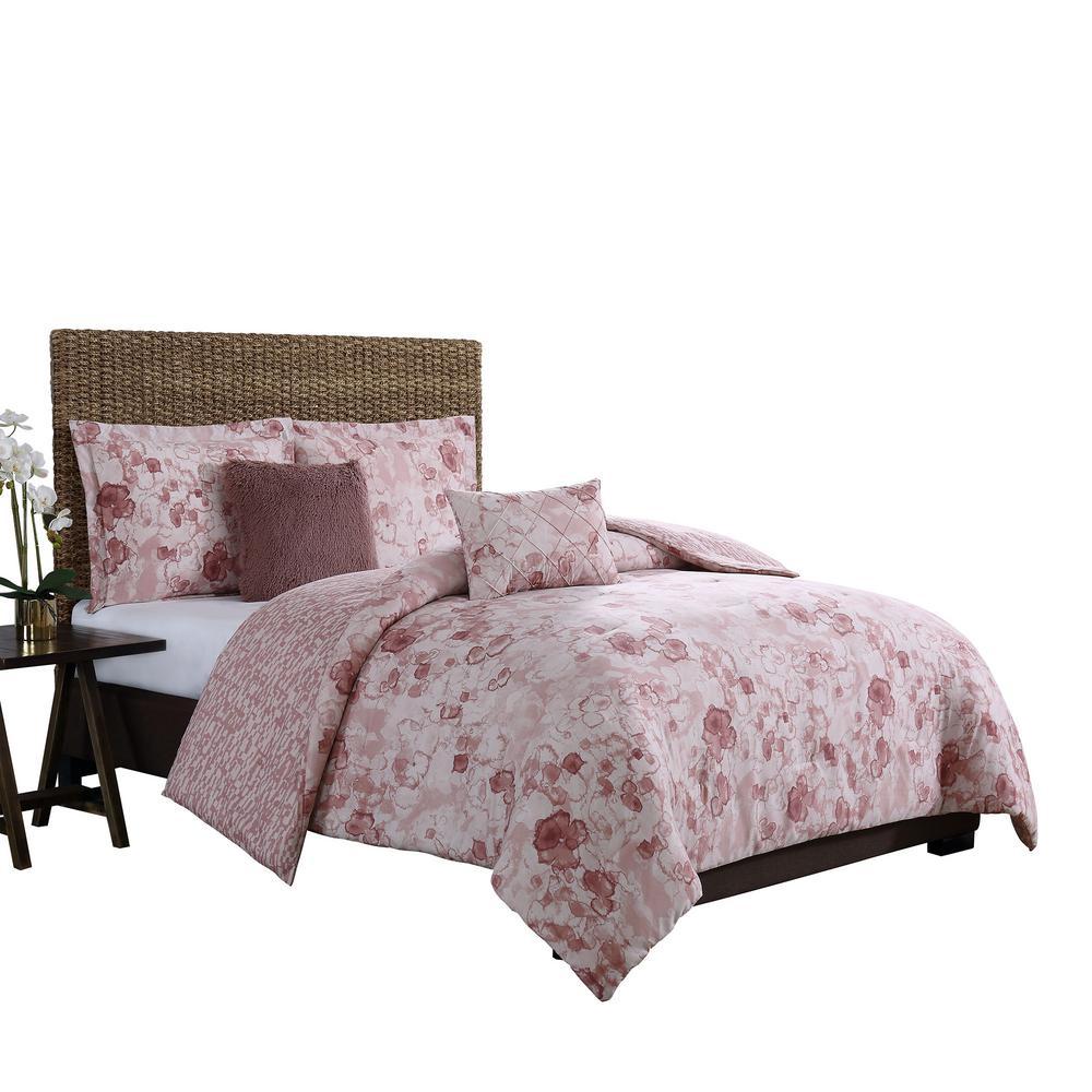 Moonlight Blush King 5-Piece Reversible Comforter Set