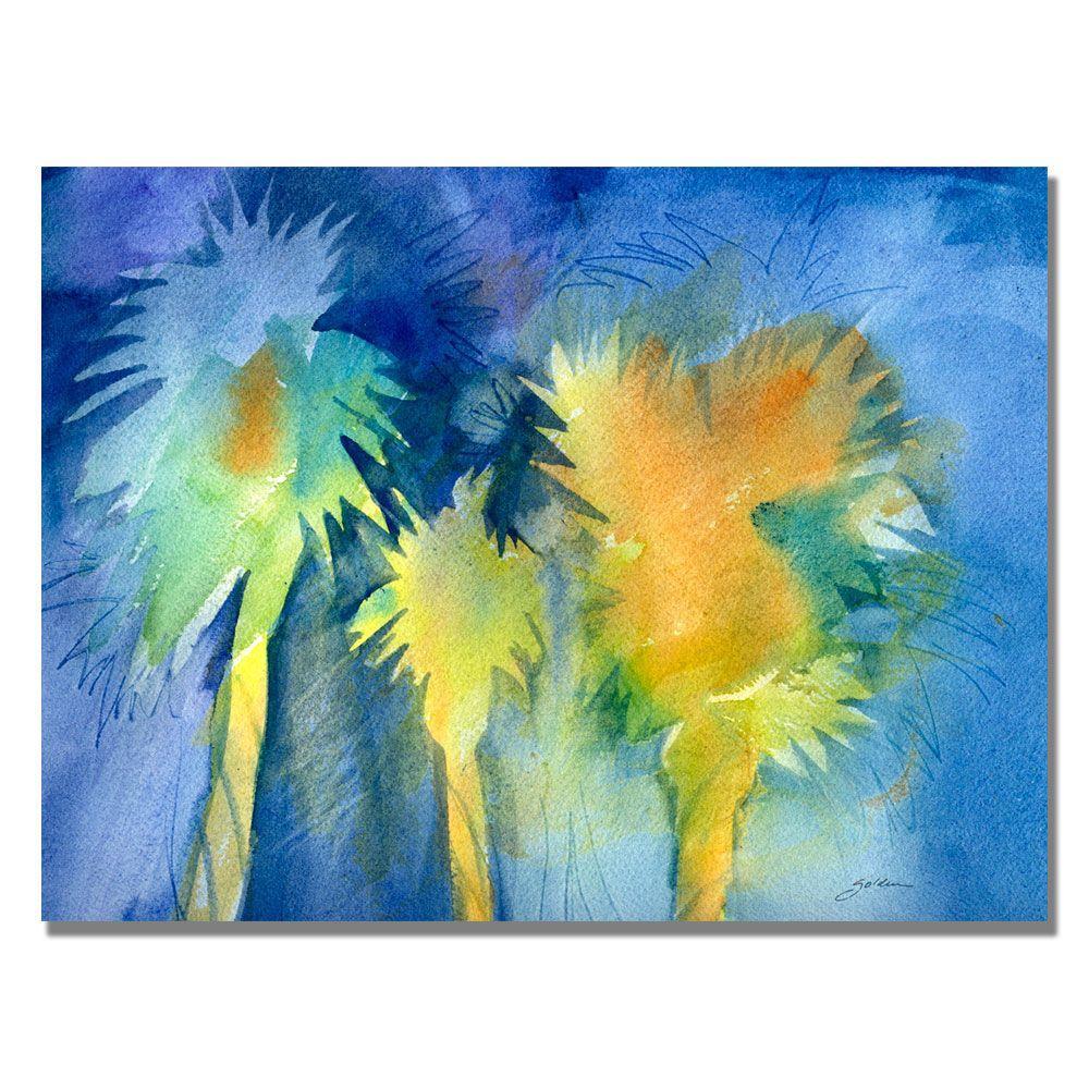 Trademark Fine Art 35 in. x 47 in. Night Palm Canvas Art